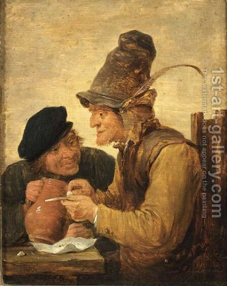 Two Peasants Drinking At A Table by (after) David The Younger Teniers - Reproduction Oil Painting
