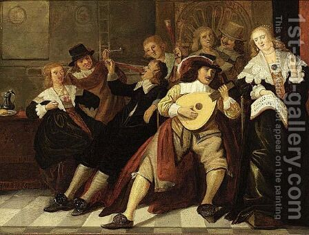 An Elegant Company Making Music And Drinking In An Interior by (after) Anthonie Palamedesz. (Stevaerts, Stevens) - Reproduction Oil Painting