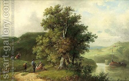 A Summer Landscape With Figures Resting, A Winter Landscape A Pair by Auguste Coomans - Reproduction Oil Painting