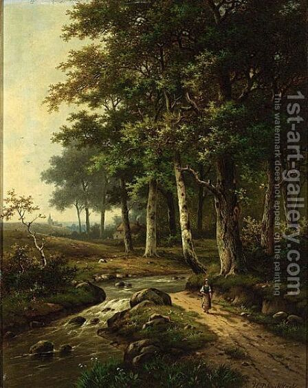 A Wooded Landscape With A Woman Travelling Near A Stream by Hendrik Pieter Koekkoek - Reproduction Oil Painting