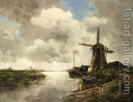 A Windmill In A Polder Landscape 2 by Hermanus Jr. Koekkoek - Reproduction Oil Painting