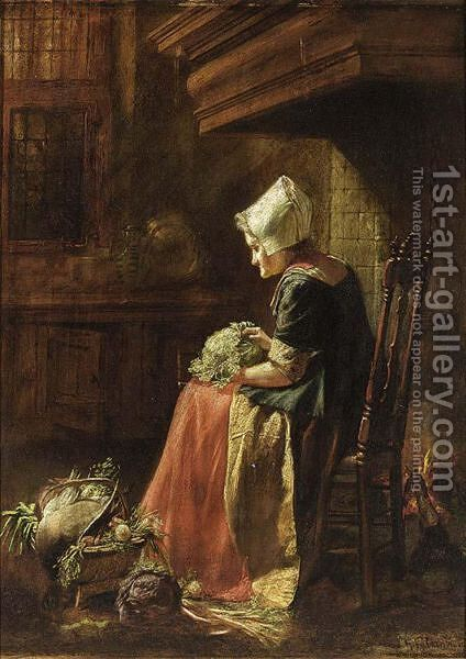 A Woman Seated With A Cabbage In A Chair By The Fire Place, A Vegetable Still Life At Her Feet by Hendrik Valkenburg - Reproduction Oil Painting