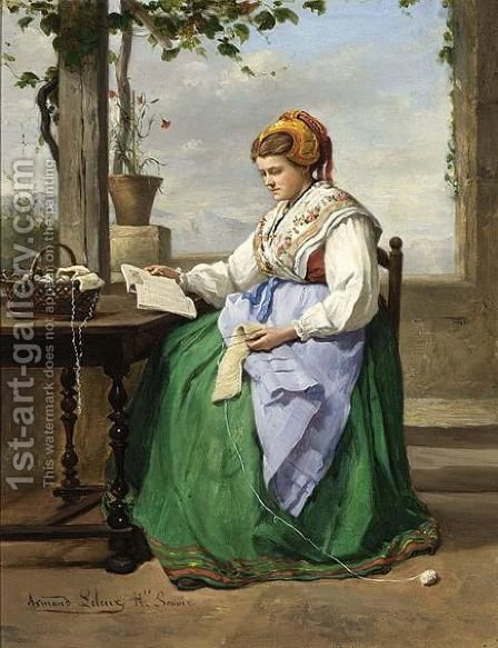 A Seamstress Reading On A Verandah In A Mountainous Landscape by Armand Hubert Simon Leleux - Reproduction Oil Painting