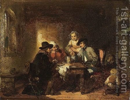 An Inn Interior With Figures Merrymaking by Herman Frederik Carel ten Kate - Reproduction Oil Painting