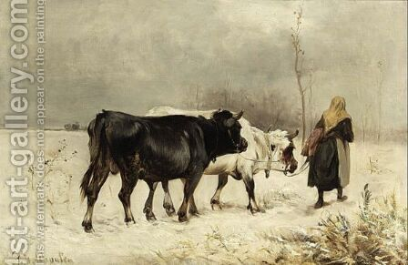 A Peasant Woman With Her Cattle In A Winter Landscape by Henry Schouten - Reproduction Oil Painting
