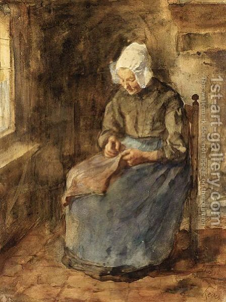 A Woman Sewing by Jacob Simon Hendrik Kever - Reproduction Oil Painting