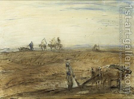 A Farmer And His Oxes Plowing, North Africa by Marius Bauer - Reproduction Oil Painting