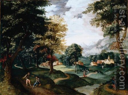 A Landscape With Travellers Resting On A Path In The Foreground, A Village Beyond by Jacob Grimmer - Reproduction Oil Painting