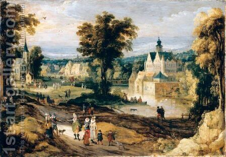 A Landscape With A Castle On A River And Figures Going About Their Daily Activities by (after) Joos De Momper - Reproduction Oil Painting