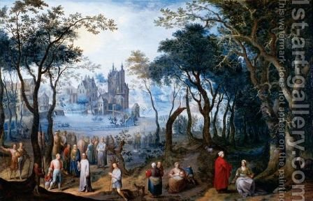 A Wooded Landscape With Christ And The Centurion, A Village Beyond by Balthasar Beschey - Reproduction Oil Painting