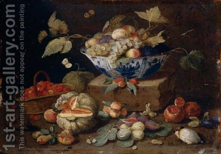 Still Life Of Apples And Grapes In A Blue-And-White Porcelain Bowl Together With Pomegranates, Figs, A Watermelon, A Basket Of Fraises-De-Bois, Peaches, Plums, A Guinea-Pig And A Hedgehog by (after) Jan Van Kessel - Reproduction Oil Painting