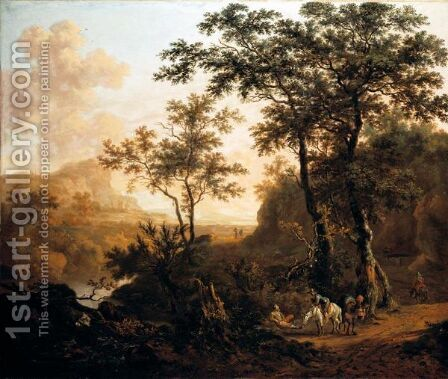 An Extensive Wooded River Landscape With Travellers On A Rocky Road, Ruins And Mountains Beyond by Dirck Dalens II - Reproduction Oil Painting