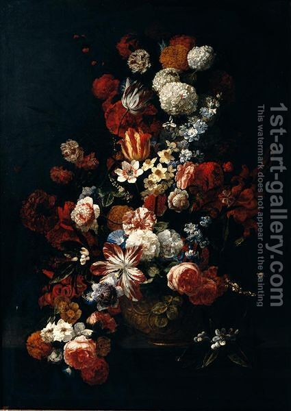 Still Life Of Tulips, Roses, Narcissi, Chrysanthemums, Carnations, Orange Blossom And Irises In A Gilt Urn, Placed Upon A Table-Top by Hieronymus Galle I - Reproduction Oil Painting