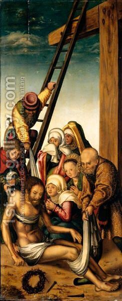 The Deposition by (after) Lucas The Younger Cranach - Reproduction Oil Painting