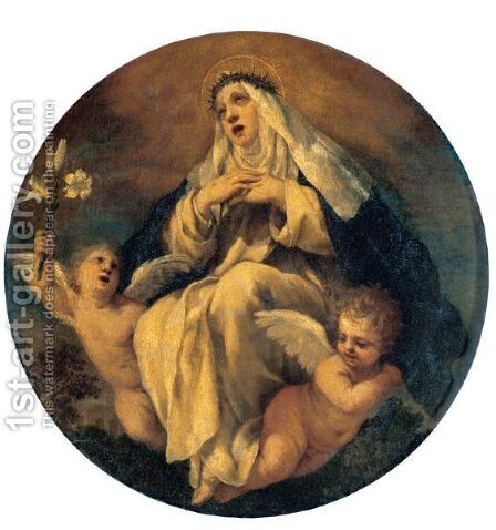 Saint Catherine Of Siena With Two Putti by (after) Cortona, Pietro da (Berrettini) - Reproduction Oil Painting