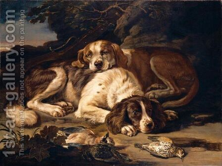 Still Life With Two Spaniels, Together With Nightingales, A Jay, And A Musket, In A Landscape by David de Coninck - Reproduction Oil Painting