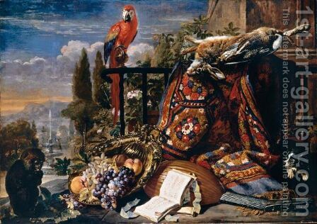 Still Life Of Fruit In A Gilt Dish, A Lute, Music Books, A Hare And Game-Birds On A Dish Resting Upon A Carpet, Together With A Scarlet Macaw, A Monkey And A Spaniel On A Terrace, An Ornamental Garden Beyond by David de Coninck - Reproduction Oil Painting