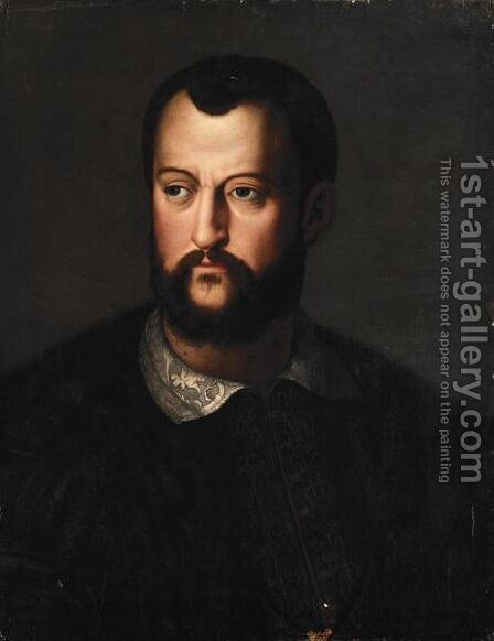 Portrait Of Cosimo I De' Medici (1519-1594), Head And Shoulders, Wearing A Fur-Lined Brown Embroidered Cloak by (after) Agnolo Bronzino - Reproduction Oil Painting