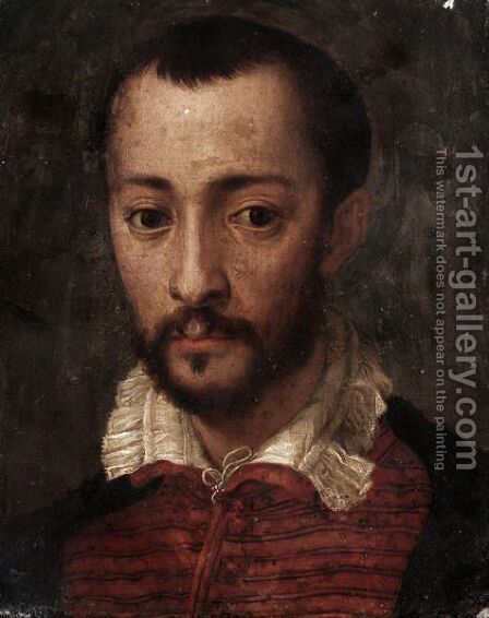 Portrait Of Francesco I De'Medici (1541-1587), Head And Shoulders, Wearing A Black And Red Jacket With A White Collar by (after) Mirabello Cavalori (Salincorno) - Reproduction Oil Painting