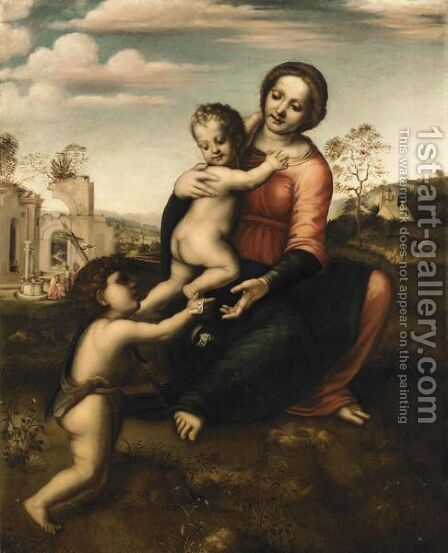 The Madonna And Child With The Infant Saint John The Baptist (The 'Madonna Del Pozzo') by (after) Francesco Franciabigio - Reproduction Oil Painting