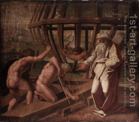 The Building Of Noah's Ark by (after) Raphael (Raffaello Sanzio of Urbino) - Reproduction Oil Painting