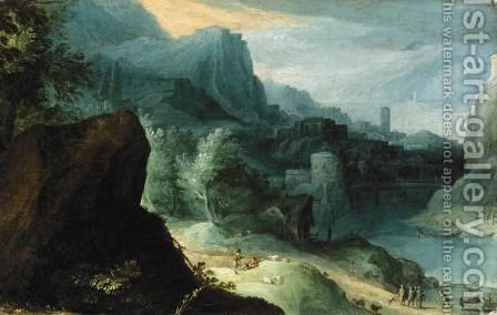 Extensive River Landscape With Figures Beside A Road by (after) Paul Bril - Reproduction Oil Painting