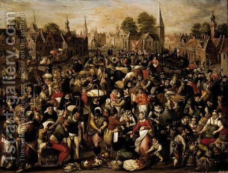 A Busy Market Scene And Many Figures by (after) Peeter Baltens - Reproduction Oil Painting
