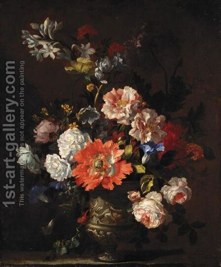 A Still Life Of Summer Flowers Including Roses, Poppies, Peonies And Convolvulus All In A Sculpted Vase by (after) Jean-Baptiste Monnoyer - Reproduction Oil Painting