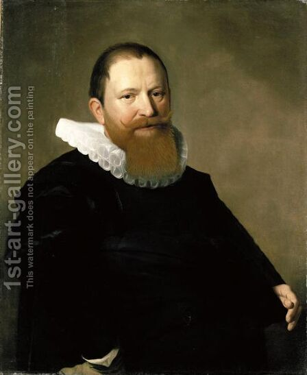 Portrait Of A Bearded Gentleman, Half Length, Wearing Black by Haarlem School - Reproduction Oil Painting