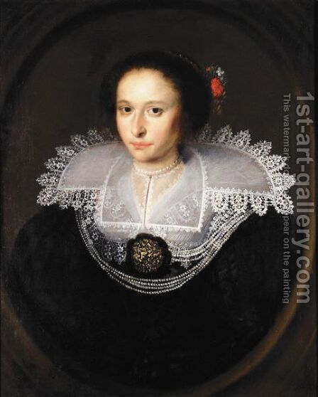 Portrait Of A Young Lady, Half Length, Wearing Black With An Elaborate White Ruff by (after) Paulus Moreelse - Reproduction Oil Painting