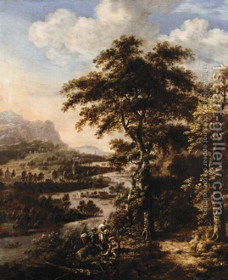 Landscape With Travellers Resting Above A River Valley by Dionys Verburgh - Reproduction Oil Painting