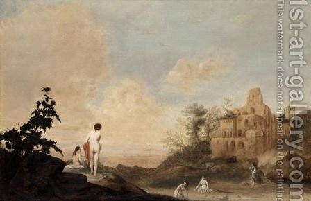 Italianate Landscape With Nymphs Bathing by (after) Bartholomeus Breenbergh - Reproduction Oil Painting
