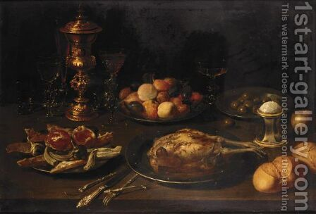 Still Life With Shells, Fruit, Olives, And A Roast Bird On Pewter Plates, Together With Glasses, A Bronze-Covered Cup, A Salt-Seller And Buns On A Wooden Table by (after) Osias, The Elder Beert - Reproduction Oil Painting