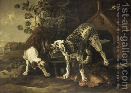 Landscape With Two Hounds Fighting Before A Kennel by (after) Peeter Boel - Reproduction Oil Painting