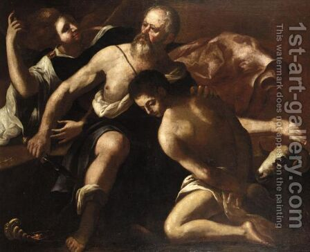 The Sacrifice Of Isaac by (after) Giovanni Lanfranco - Reproduction Oil Painting