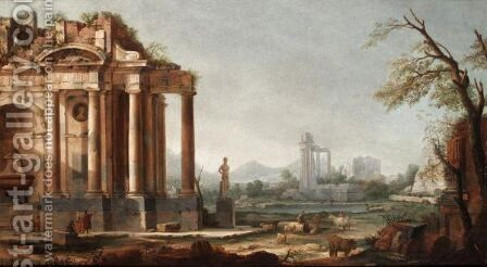 Capriccio Landscape With Figures Beside Ruins by (after) Pierre-Antoine The Younger Patel - Reproduction Oil Painting