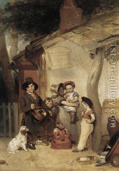 The Hurdy-Gurdy Man by (after) William Collins - Reproduction Oil Painting