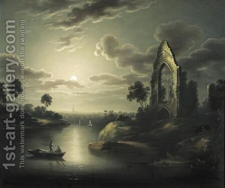 A Moonlit River With Ruin by (after) Sebastian Pether - Reproduction Oil Painting