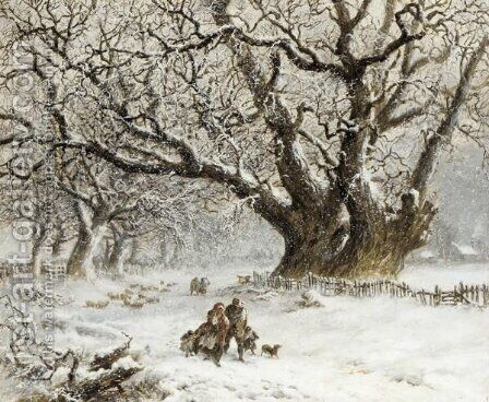 A Winter Walk by (after) Thomas Smythe - Reproduction Oil Painting