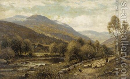 Herding The Sheep by Alfred Glendening - Reproduction Oil Painting