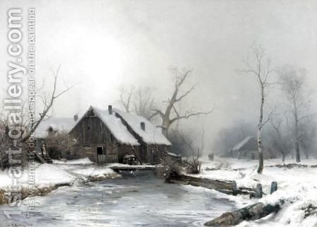 A Farmstead In A Snowy Landscape by Gustaf Fredrik Rydberg - Reproduction Oil Painting