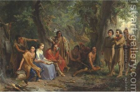 Hetty Reading The Scripture To The Indians by Christian Schussele - Reproduction Oil Painting