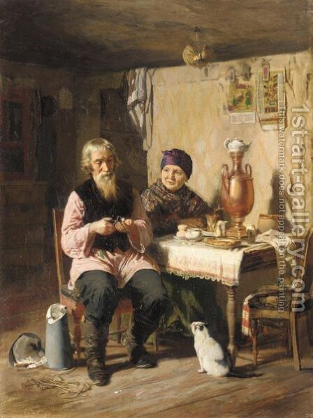 Tea Time by Aleksei Ivanovich Korzukhin - Reproduction Oil Painting