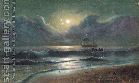 The Moonlit Coast by A. Frandetti - Reproduction Oil Painting