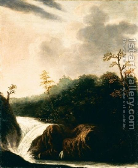 Paesaggio Con Cascata by Italian School - Reproduction Oil Painting
