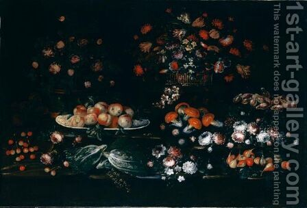 Natura Morta Con Vasi Di Fiori, Funghi E Frutta by (after) Elisabetta Marchioni - Reproduction Oil Painting