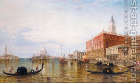 Gondolas On The Grand Canal In Front Of The Doge's Palace, Venice by Alfred Pollentine - Reproduction Oil Painting