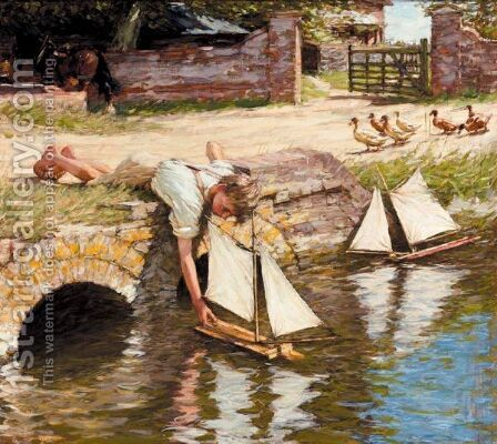 The Farm Pond by Henry Herbert La Thangue - Reproduction Oil Painting