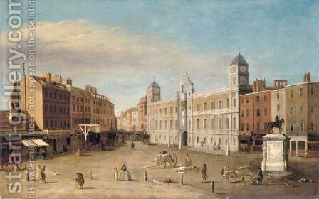 A View Of Northumberland House by (after) Samuel Scott - Reproduction Oil Painting