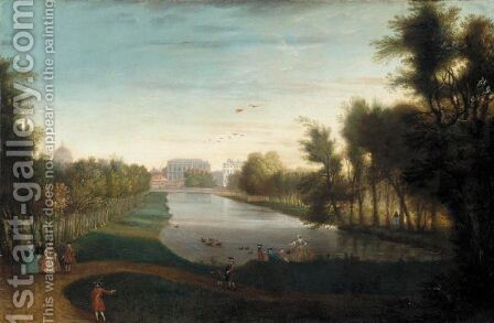 Figures Walking Beside A Lake, Possibly Rosamond's Pond In St James's Park by (after) John Inigo Richards - Reproduction Oil Painting